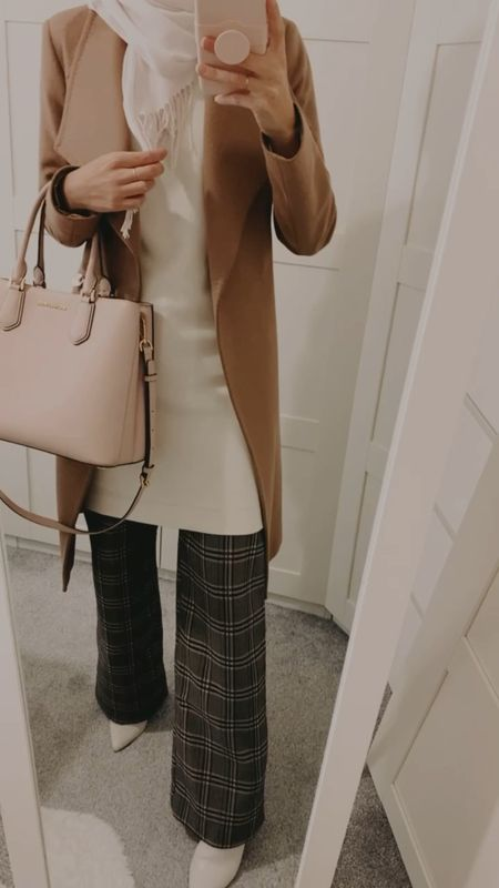 Modest outfit - autumn outfit - modesty - outfit inspo - autumn vibes - coat - checked pants - pink handbag    http://liketk.it/32Haz @liketoknow.it #liketkit #LTKsalealert #LTKFall #LTKstyletip Follow me on the LIKEtoKNOW.it shopping app to get the product details for this look and others