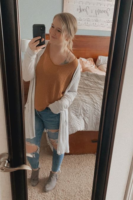 Off should thermal shirt, light weight duster cardigan, shein tops under $10, fall neutrals, AE distressed Jegging, gray ankle boots, target finds, shein finds, AE jeans.    #LTKSeasonal #LTKcurves #LTKshoecrush