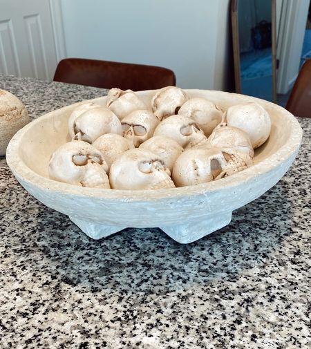 Halloween decor. Skull vase filler + studio McGee decorative bowl.   #LTKhome #LTKHoliday #LTKSeasonal