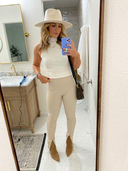neutral chic outfit of the day! Split leg leggings are so comfy- TTS! Mine are the H&M ones- only have black left. But linked very similar from F21!   #LTKstyletip #LTKunder100