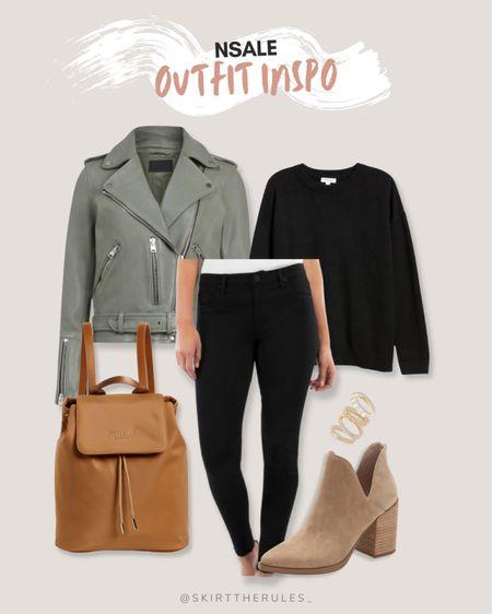 Nordstrom Anniversary Sale, NSale, Nordstrom sale: safe green moto jacket, black sweater, black skinny jeans, brown leather backpack, taupe suede cutout booties, gold stacking rings. @liketoknow.it http://liketk.it/3jPdt #liketkit #LTKunder50 #LTKstyletip #LTKsalealert