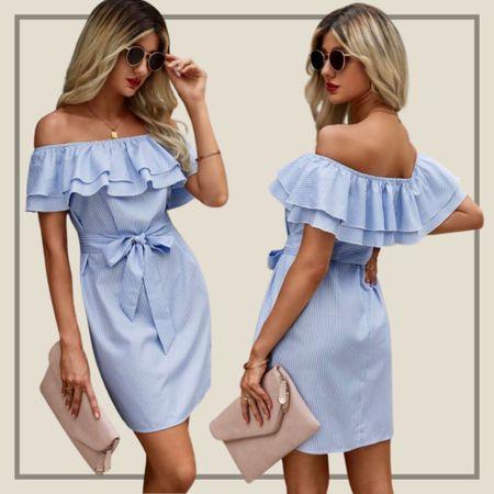 Off the shoulder frill tie dress  #LTKstyletip #LTKunder50 #LTKunder100