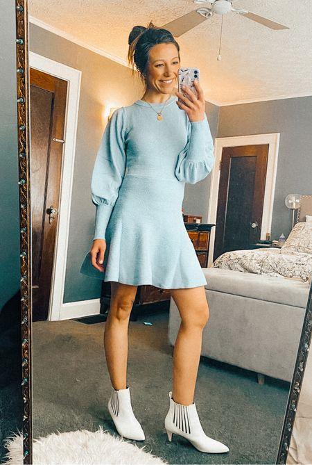 20% off with code SPARKS20 // wearing S // sweater dress //baby blue dress // spring fashion // fall fashion   #LTKunder50 #LTKSeasonal #LTKworkwear