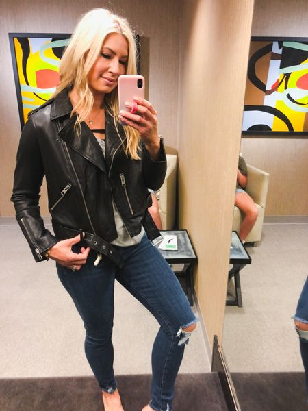 I'm a sucker for a good sale! $175 off this amazing leather jacket! I'm all in. Runs small so I'm wearing a US 10. I'm a Med. in all Abercrombie jackets for reference. A size large in the BlankNYC suede jacket. NSale Nordstrom sale. All Saints leather jacket   #LTKeurope #LTKstyletip #LTKsalealert