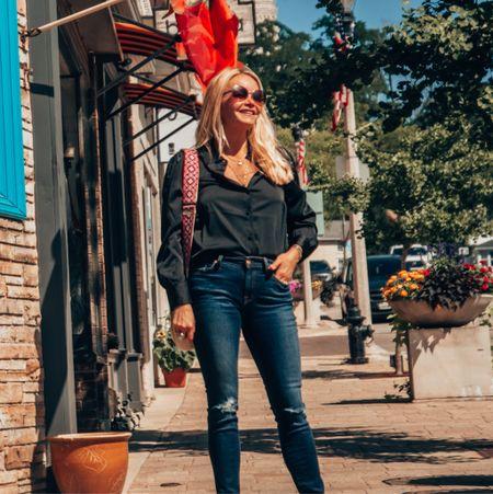 Classic business casual fall outfit. Button down, jeans, heels or sneakers.      #LTKworkwear #LTKSeasonal #LTKbacktoschool