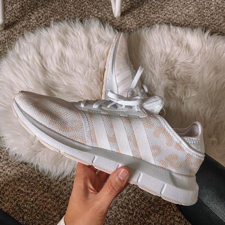 Gold and white leopard adidas swift run sneakers on sale for the NSale   #LTKsalealert #LTKunder100 #LTKshoecrush