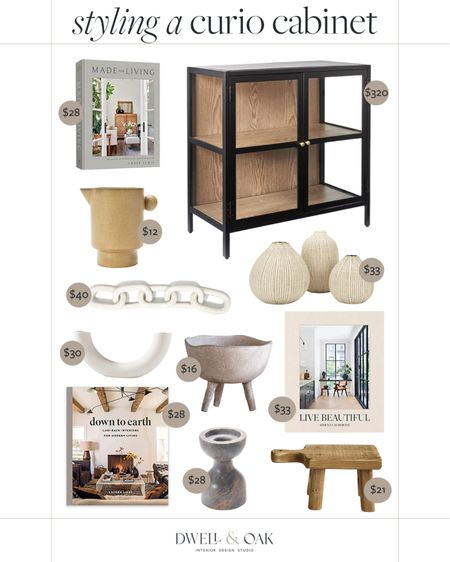 Styling a curio cabinet: Amazon decor pieces that would pair perfectly with this $320 Studio McGee for Target black and wood glass curio cabinet. #studiomcgee #amazonhome   #LTKstyletip #LTKhome #LTKsalealert