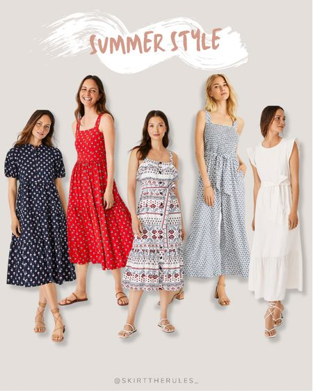 Summer style, summer dresses, beach vacation outfits, Ann Taylor: navy midi dress, red midi dress, red white and blue dress, light blue jumpsuit, wide leg jumpsuit, white maxi dress. @liketoknow.it http://liketk.it/3iYKm #liketkit #LTKstyletip