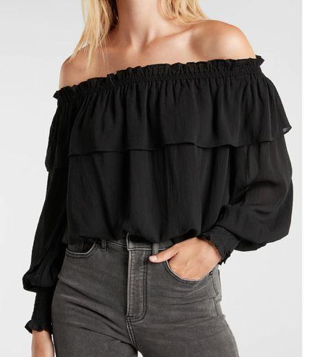 Black off shoulder ruffle blouse   #LTKunder100 #LTKSeasonal #LTKworkwear