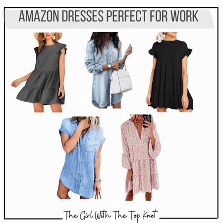 Love these Amazon dresses for work or play! Throw on a cardigan and booties or wear with flip flops or sandals!   #LTKstyletip #LTKunder50 #LTKworkwear