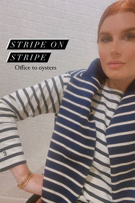 """Stripe on stripe! This was great for my zoom calls today and is also cute for weekend happy hour. I love the sleeve on this top- it has a cute """"E"""" embroidered on the sleeve.  I have the blue striped sweater in cream as well- size small.   #LTKworkwear #LTKunder50 #LTKunder100"""
