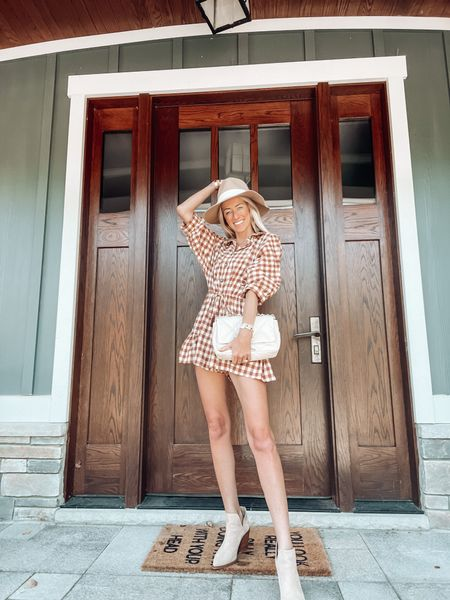 Gingham romper for fall  Fall outfits  Felt wide brim hat and suede ankle booties Chanel quilted handbag for fall    #LTKSeasonal #LTKitbag #LTKstyletip