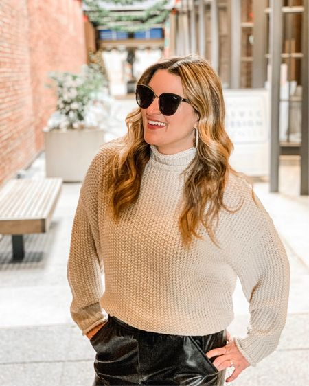 This outfit is the perfect combo of put together and casual comfort.  The sweater is perfectly light weight and the faux leather joggers feel like pajamas on the inside. Matched it all with Sorel weatherproof studded boots and BAM. My new favorite outfit. http://liketk.it/33f2E #liketkit @liketoknow.it Follow me on the LIKEtoKNOW.it shopping app to get the product details for this look and others   #evereveambassador @evereveofficial