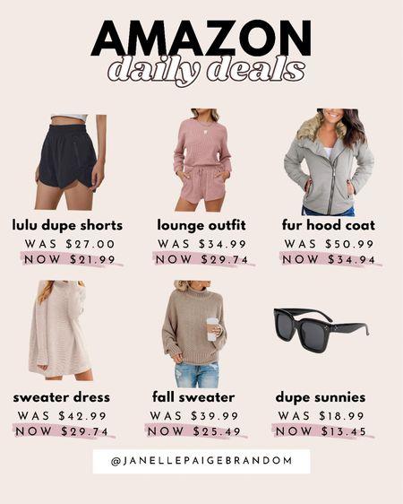 The best amazon daily deals for fall! Dupe designer shades/sunglasses, sweaters, coats, lounge & lulu dupe shorts    #LTKunder50 #LTKsalealert #LTKstyletip