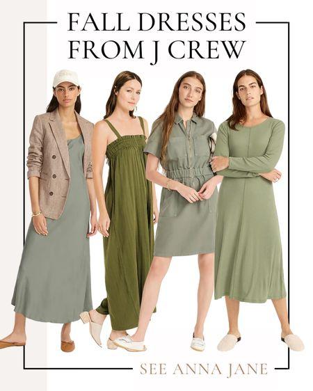 Fall Dresses From J Crew 💚  #falldress #jcrew #jcrewdress #fallstyle #fallfashion #falloutfits #fallclothing #maxidress #mididress #falloutfitideas  #LTKstyletip #LTKSeasonal