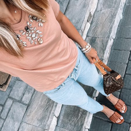Super cute jeweled tee & the softest jeans EVER! (Tee is on SALE right now) 🙌🏻 Both are from @express. Tee is 50% off!!!  #LTKsalealert #LTKunder50 #LTKstyletip