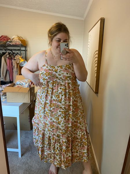 Floral midi dress from red dress. Doesn't fit plus size! Wearing large.   #LTKunder50