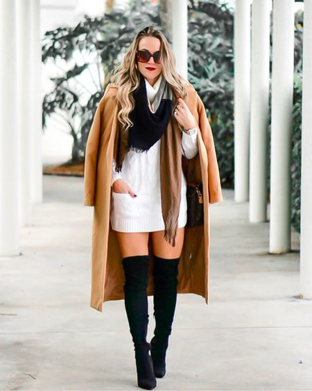 @liketoknow.it #liketkit http://liketk.it/2DJ3y #LTKunder50 #LTKunder100 #LTKstyletip #LTKsalealert #LTKshoecrush trench coat boots sweater dress fall style