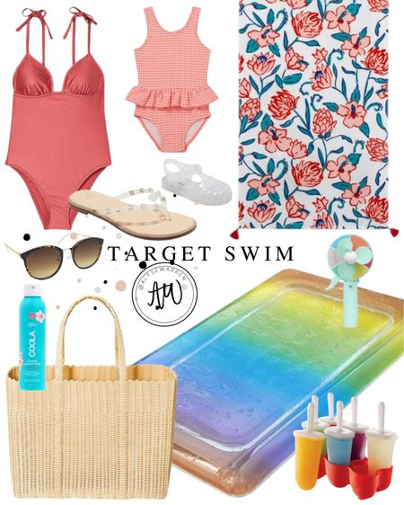 Target for the win!  One piece swimsuit, gingham swimsuit, baby girl, toddler girl, beach towel, studded sandals, jelly shoes, handheld fan, popsicle mold, sunglasses, natural sunscreen, beach vacation  #LTKswim #LTKfamily #LTKunder50