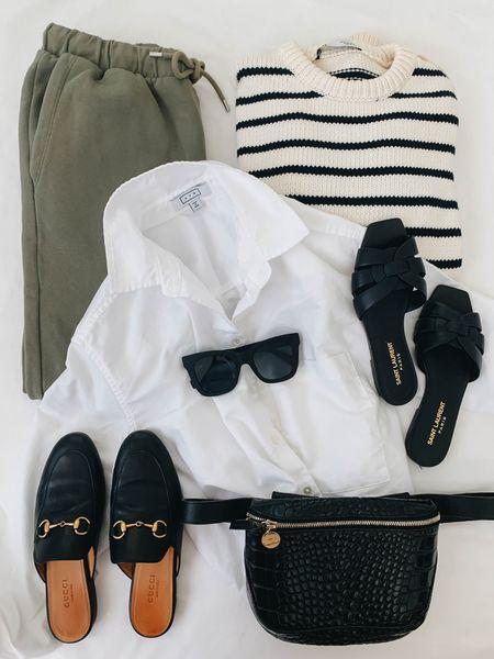 Dress up your sweats with a crispy white button down 😎 #momlife    #LTKstyletip #LTKshoecrush