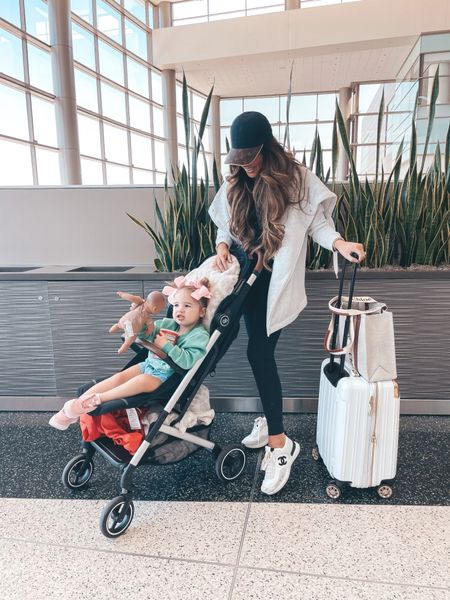 Emily Ann Gemma, Travel outfit, airport outfit, white and gold suitcase, Lululemon leggings, Chanel sneakers, casual outfit, hiking outfit http://liketk.it/3nkZz
