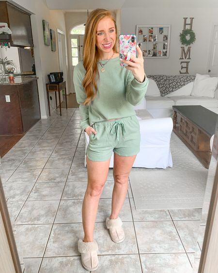 Cozy pajama set from Amazon                 Amazon fashion  Amazon finds  Pajamas  Loungewear  Slippers  Comfy outfits   #LTKunder50 #LTKstyletip