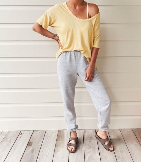 I don't see this color tee online, but other colors are available! Size xs. Super soft! Joggers are very comfy! Size xs. Amazon sandals; if between sizes go up.      #LTKunder50 #LTKstyletip #LTKtravel