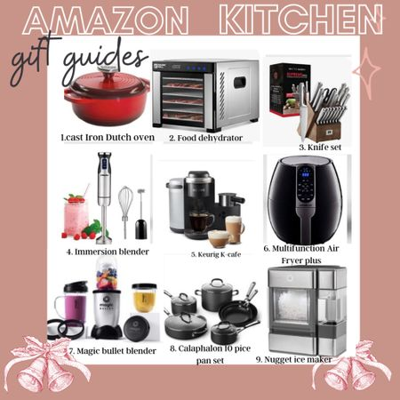 Amazon Kitchen Gift Guide  some Great SALES… Perfect for the cooks & newlyweds  On your list! 🎁 Dutch oven Dehydrator Knife set Mixer  Keurig cafe Air fryer best won all around  Magic bullet 10 piece pots pans Cube ice maker     #LTKGiftGuide #LTKsalealert #LTKhome
