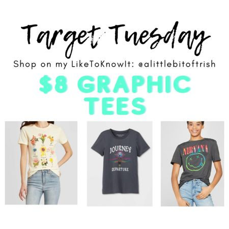 Target Tuesday!! Graphic tees are only $8 🙌🏼 I just added these to my cart!    Shop my daily looks by following me on the LIKEtoKNOW.it shopping app    http://liketk.it/3baqZ @liketoknow.it #liketkit #LTKSpringSale #LTKstyletip #LTKunder50