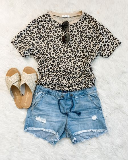 Just the cutest $22 pull on denim shorts...that are currently sold out in blue but available in three other colors. 🙈😬 I tried. 😅 They fit TTS, I was almost going to say size up but they stretch after wearing them so go with your regular size. This leopard tee is an old Amazon find, just $15! I got the large. Link in Stories. http://liketk.it/3h8D6 #liketkit @liketoknow.it #walmartfashion #founditonamazon