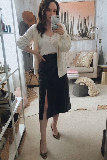 Spanx faux leather midi skirt   #LTKstyletip