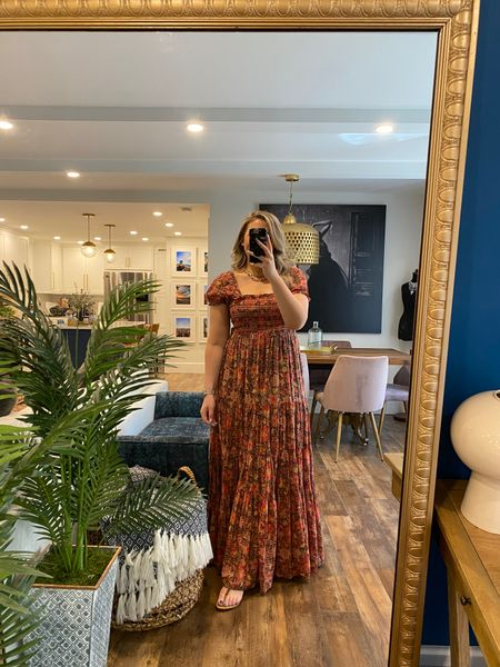 This peasant maxi dress is so comfortable and so perfect! True to Free People sizing/go down in your normal size! Wearing a medium here.  #LTKstyletip #LTKunder100 #LTKcurves