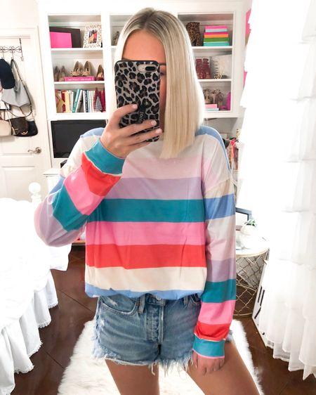 $20 Rainbow striped pullover! Designer dupe! Wearing a small. http://liketk.it/2EkcG @liketoknow.it #liketkit #LTKsalealert