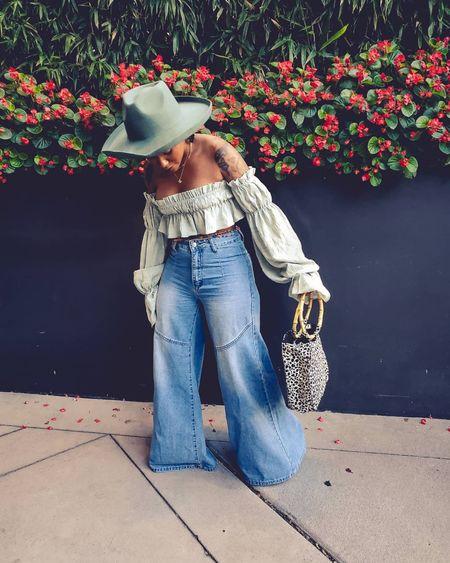 Hats  Fedora hats  wide leg jeans  Target  Target hats  Off shoulder tops  Green  Green tops  #LTKunder50 #LTKunder100 #LTKstyletip