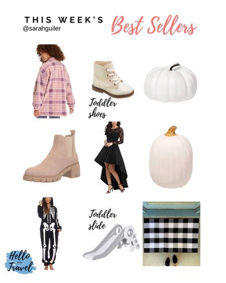 Shacket. Fall style. Fall decor. Plaid doormat. Fall porch decor. Toddler toys. Toddler style. Tan boots. Wedding guest dress. Skeleton costume. Halloween costume. White pumpkins   #LTKhome #LTKshoecrush #LTKSeasonal