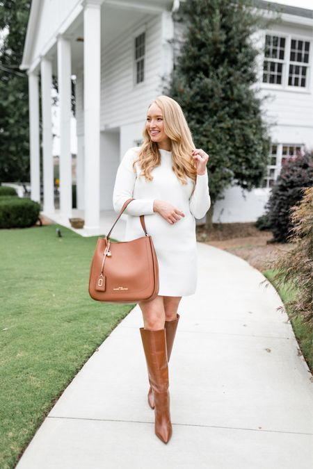 Loving this rich brown for fall. This hobo bag can be work on the shoulder or crossbody. Linking a similar sweater dress I also have below that has a flowier fit  #LTKitbag