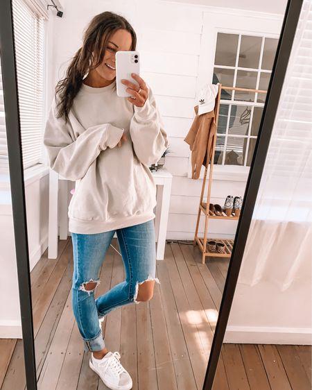Amazon sweatshirt - wearing a M amazon sneakers - sized down 1/2 a size  Amazon outfits amazon comfy outfits amazon fashion #LTKunder50 #LTKstyletip #liketkit @liketoknow.it http://liketk.it/3axDV