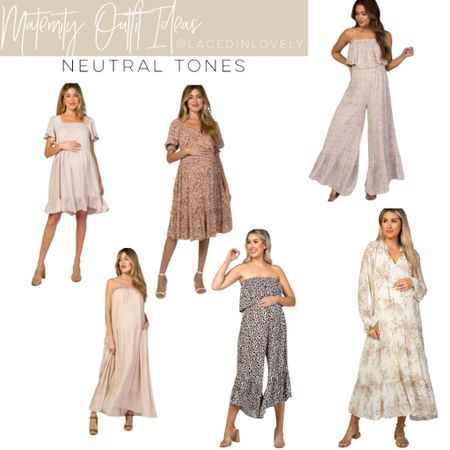 Cute Maternity styles in neutral tones! These maternity styles are comfy and great quality. Pink Blush has a discount code at the top of their website that changes daily. Today it is code SWEETDEAL for 30% off dresses. 25% off bottoms, and 20% off tops.  I wear a size medium unless otherwise noted!  #LTKbump #LTKsalealert #LTKstyletip