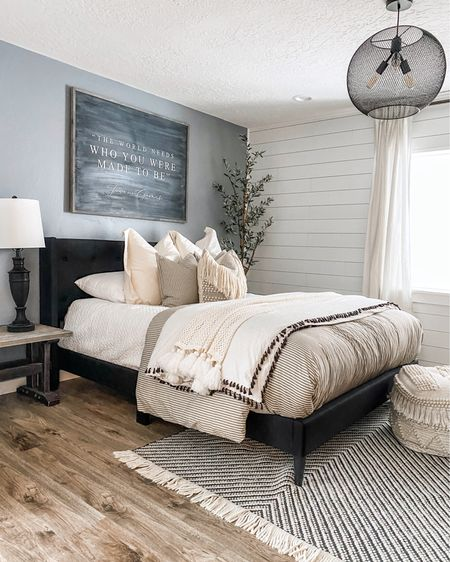 When I was designing our guest room I knew I wanted shiplap on the back wall. It's the first thing you see when you enter the space and it brings such a clean, classic beauty to the room! . We used the pre-painted real shiplap boards from @timelinewood and they were a breeze to put up! They fit nicely together giving you the perfect spacing every time. Since they are pre-painted all we had to do was nail the boards up and we were done! #micdrop 🎤 .  http://liketk.it/2VbYU @liketoknow.it @liketoknow.it.home #liketkit #LTKhome