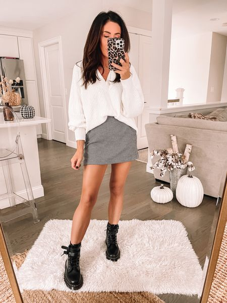 Plaid skirt Combat boots Target sweater   #LTKstyletip #LTKSeasonal #LTKshoecrush