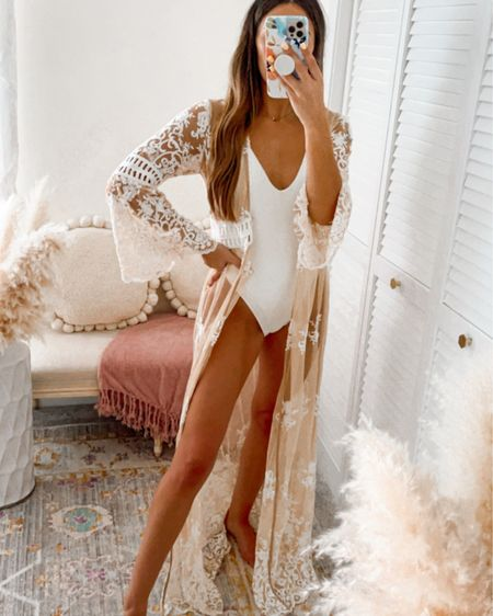 Bridal swim coverup / robe.. can also be worn as a dress. The lace detailing on this white/nude dress is perfect for brides or vacation!!! Only $40   http://liketk.it/3k6B6 #liketkit @liketoknow.it @liketoknow.it.home @liketoknow.it.europe @liketoknow.it.brasil @liketoknow.it.family #LTKwedding #LTKtravel #LTKstyletip #forever21