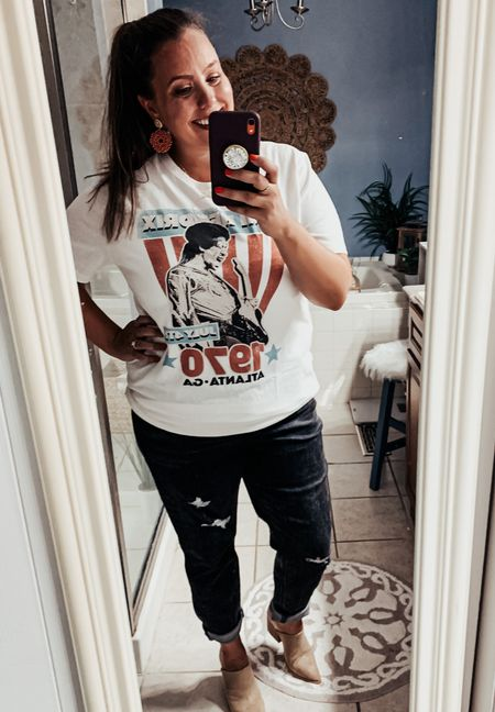 Graph tees and ripped jeans?! Yes please! These jeans are AH-MAZING! They are stretchy, comfy, and super cute. The best news?! They are on sale for $35! 🎊  Tee- Old Navy (linked some other awesome band tees) Jeans- Old Navy Shoes- BP. @ Nordstrom (linked a pair of Amazon dupes!)   #LTKSeasonal #LTKstyletip #LTKsalealert