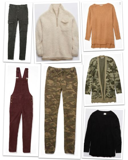 The Big Fall Sale is happening at American Eagle right now with everything (including new arrivals) 25%-50% off! I rounded up a wishlist and thought I'd share. Some great fall sweaters, a sherpa pullover to die for, some camo joggers and the most adorable corduroy overalls. 😍  http://liketk.it/2Yegy #liketkit @liketoknow.it