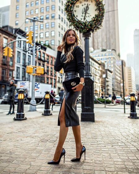 Fall and winter workwear outfit  Astr the Label sweater wearing an XS Superdown Faux Leather Skirt wearing an XXS  #LTKworkwear #LTKstyletip #LTKunder100