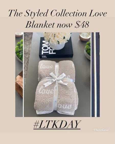 The styled collection Love blanket now on sale for $48 with LTK day   Anniversary gift  Housewarming gift  Wedding gift  Bridal shower gift  Bachelorette party gift  Gifts for bride  Home decor  Cozy blanket  Barefoot dreams dupe     #LTKhome #LTKwedding #LTKsalealert #liketkit @liketoknow.it http://liketk.it/3huQD #LTKday