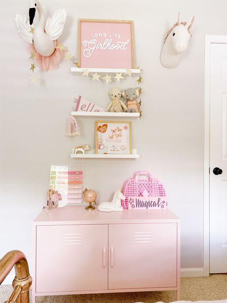 Girls room, girls room decor, pink decor, kids bookshelf, shelfie   #LTKkids #LTKfamily #LTKhome