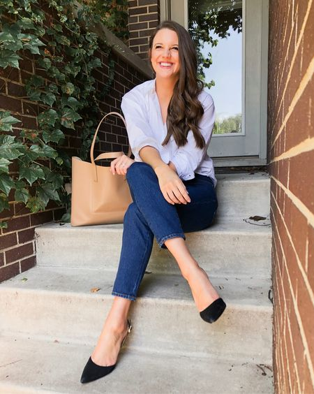 Not sure how to strike the right balance of polished and casual for the office? On the blog I'm sharing how to pull it off perfectly! Also linking my favorite work appropriate jeans (IE dark wash, no holes!) button down (oversized so size down if you want it more fitted!), and classic pumps (mine are the older version but they tend to run TTS)! http://liketk.it/2xhMB #liketkit @liketoknow.it