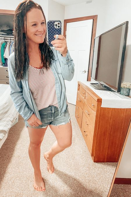 Wet hair but make it cute! Love these new shorts from The Buckle! A cute tank with a chambray top can go a long way... add a little tuck to show off the adorable high-waist! Snag the blouse because they are finally restocked in all sizes! http://liketk.it/3fkOm #LTKunder50 #LTKstyletip #liketkit @liketoknow.it