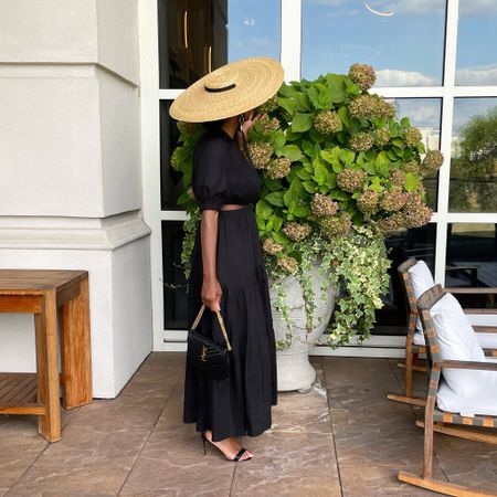 Look I'm wearing as pictured:  Hat: @jacquemus (santon straw hat-sold out) Dress: @mango (size 6) Shoes: @bcbgmaxazria Purse: @ysl  #LTKstyletip #LTKitbag #LTKunder100