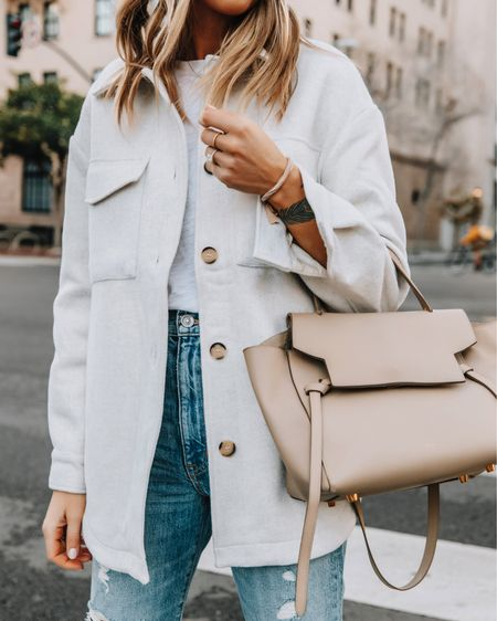 The perfect beige shacket for fall! Fits oversized and is a great layering piece. Wearing an XS #shacket #falloutfit   #LTKunder100 #LTKstyletip #LTKunder50